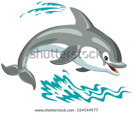 cartoon dolphin isolated on white background  - stock vector