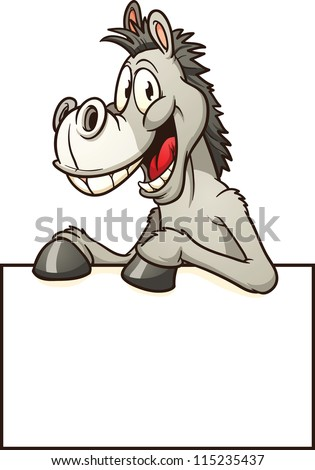 Cartoon donkey with sign. Vector clip art illustration with simple gradients. All in a single layer. - stock vector