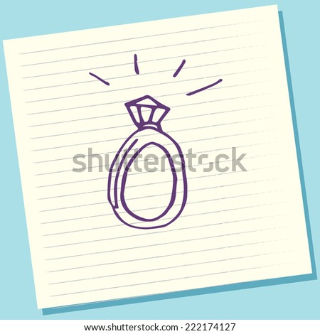 Cartoon Doodle Diamond Ring Sketch Vector Illustration - stock vector