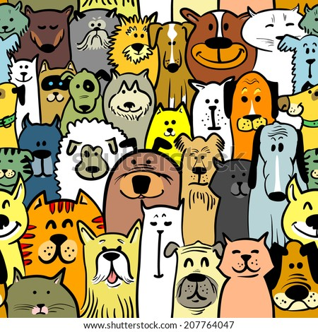 Cartoon doodle dogs and cats seamless - stock vector