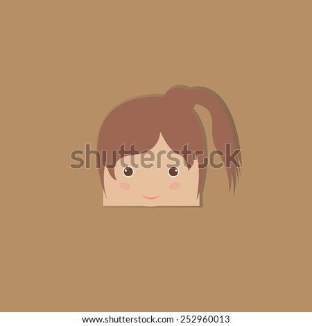 cartoon doodle girl rectangle, vector illustration - stock vector