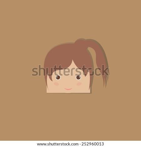 cartoon doodle girl rectangle, vector illustration - stock vector