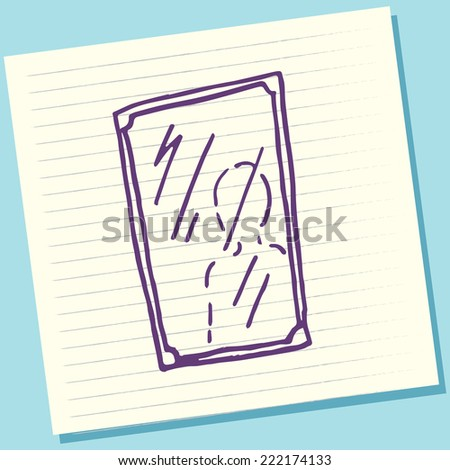 Cartoon Doodle Mirror Sketch Vector Illustration - stock vector