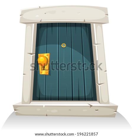 Cartoon Door/ Illustration of a cartoon comic little curved wood door with stone doorframe - stock vector