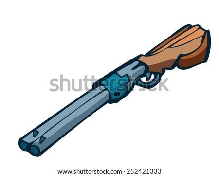 Cartoon Double Barreled Shotgun, Vector Illustration isolated on White Background.  - stock vector