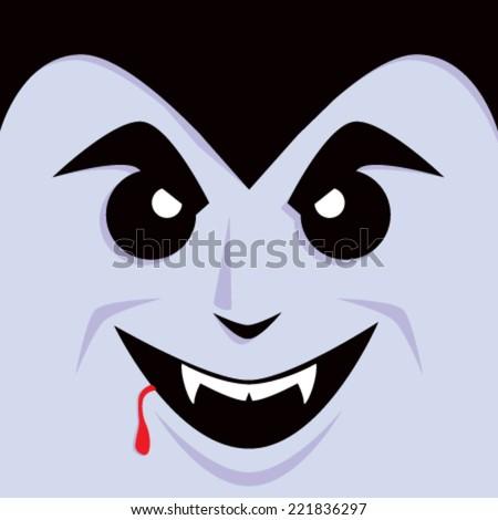 Cartoon Dracula Face - stock vector