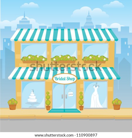 Cartoon drawing of a city bridal shop - stock vector