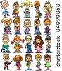 cartoon drawings of children, students - stock vector