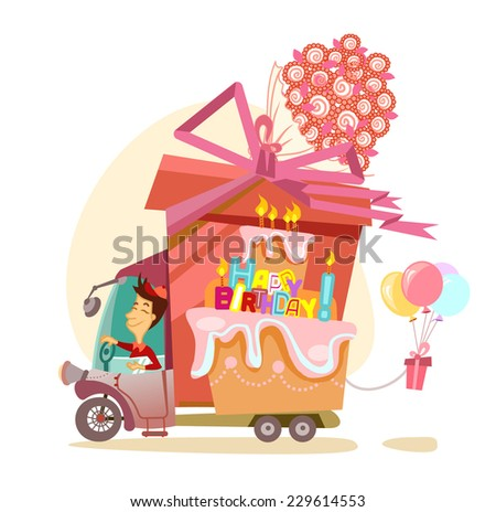 Cartoon driver with big gift, balloons, flowers and happy birthday cake. Happy birthday greeting card/banner/template - stock vector