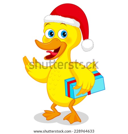 Cartoon duck presenting with his wing - stock vector