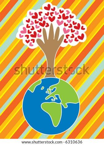 cartoon earth, hand, tree and love (vector) - stock vector