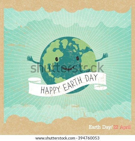 "Cartoon Earth Illustration. Planet smile and hold banner with ""Save Me"" words. Vintage Earth Day Poster. Rays, clouds, sky. Text on white ribbon. On old paper texture. Grunge layers easily edited. - stock vector"