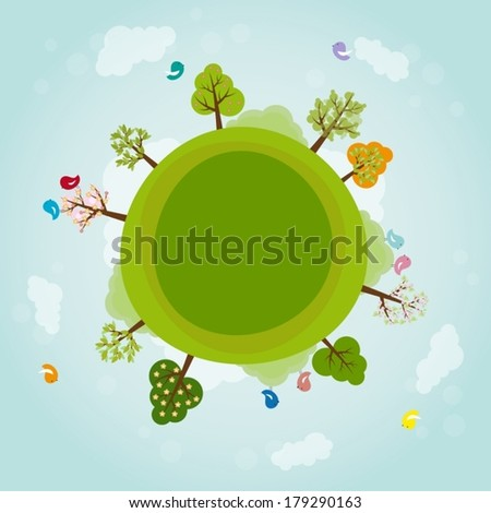 Cartoon earth with trees and birds - stock vector