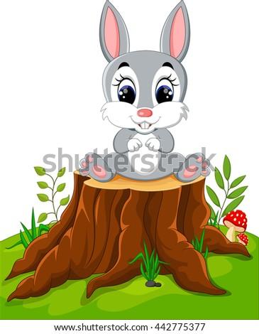 Cartoon Easter Bunny on tree stump - stock vector