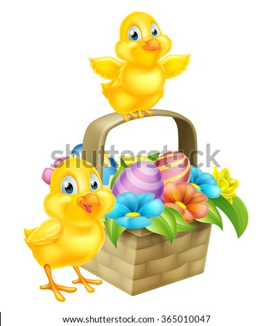 Cartoon Easter Chicks baby chicken birds, chocolate painted Easter Eggs and spring flowers in an Easter basket hamper - stock vector