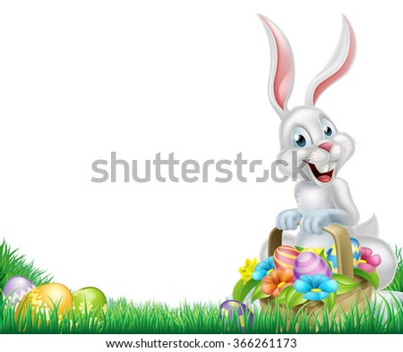Cartoon easter scene. White Easter bunny with a basket full of decorated chocolate Easter eggs in a field - stock vector