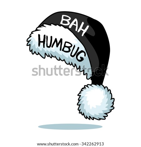 Cartoon Ebenezer Scrooge Bah Humbug Santa hat isolated on white EPS 10 vector - stock vector