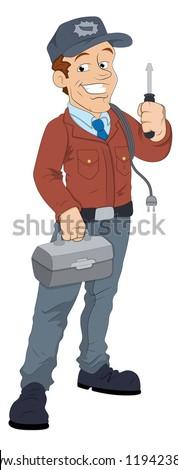 Cartoon Electrician Character - stock vector