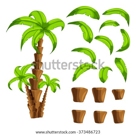 Cartoon elements the palm trees on a white background. Set of isolated objects of a tropical tree trunk and green leaves set the forest songs funny cartoon for filling game interface background.Vector - stock vector