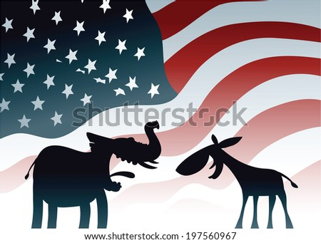 Cartoon elephant and donkey, symbols of the dominant US political parties. - stock vector