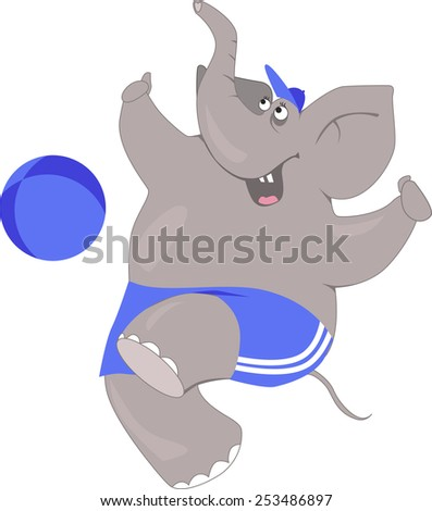 Cartoon elephant in a football shorts and baseball cap playing a ball, vector illustration - stock vector