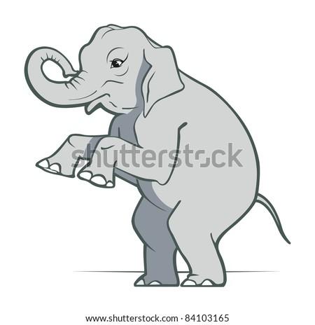 cartoon elephant smile in gray color - stock vector