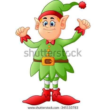 cartoon elf giving two thumbs up - stock vector