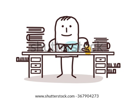 cartoon employee man working at his desk - stock vector