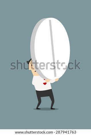 Cartoon exhausted businessman carrying a big round pill, for healthcare or medication concept design. Flat style - stock vector