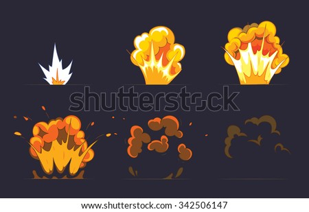 Cartoon explosion effect with smoke. Effect boom, explode flash, bomb comic, vector illustration. Animation frames for game - stock vector