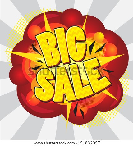 Cartoon explosion pop-art style �¢?? big sale. - stock vector