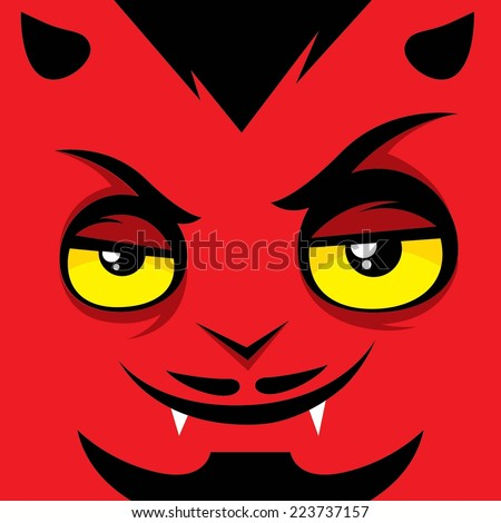 Cartoon expression satan - stock vector