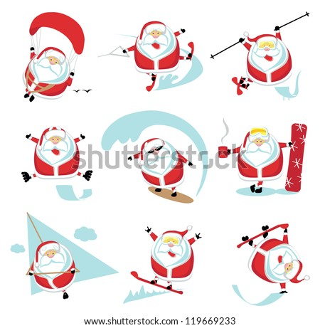 Cartoon extreme Santa  set ?1. EPS 10. Separate layers - stock vector
