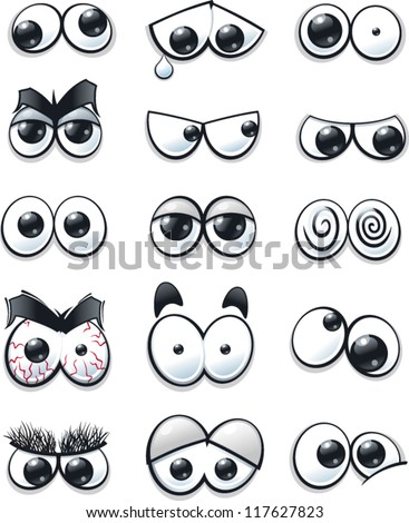 Cartoon eyes collection - stock vector