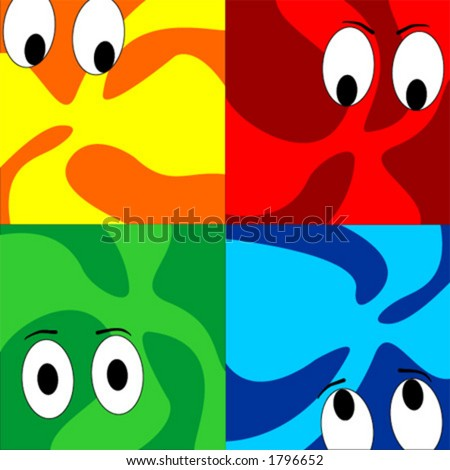 Cartoon eyes in psycadelic or abstract background with four different colors - stock vector