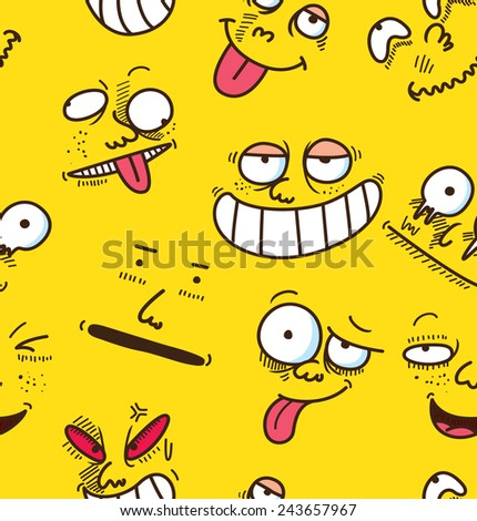 cartoon face seamless background - stock vector