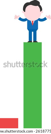 Cartoon faceless businessman standing hands shrugging on tall green bar beside low red bar - stock vector