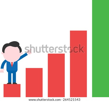 Cartoon faceless businessman standing on low rung pointing up red green bar chart - stock vector