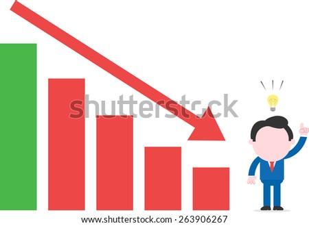 Cartoon faceless businessman with idea beside bar chart arrow moving down - stock vector