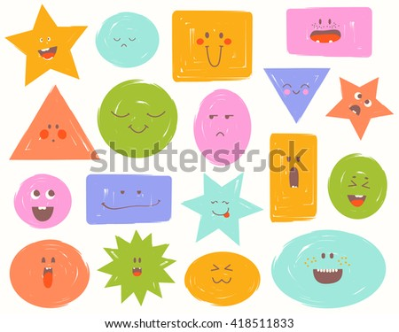 Cartoon faces with emotions. Comics doodle clouds set with different expressions, childish Funny colorful avatars: cloud, square, triangle, star... Hand drawn vector illustration. - stock vector