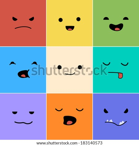 Cartoon faces with emotions v.1 - stock vector