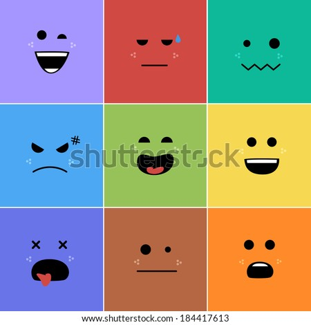 Cartoon faces with emotions v.2 - stock vector