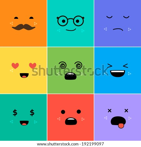 Cartoon faces with emotions v.3 - stock vector
