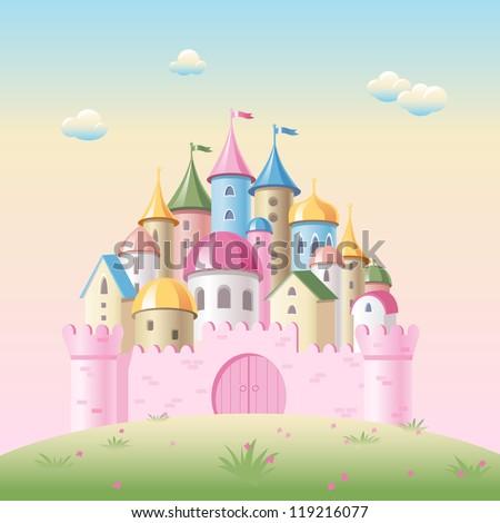 Cartoon fairy tale castle - stock vector