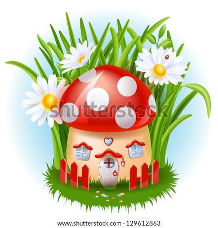Cartoon fairy tale house - stock vector