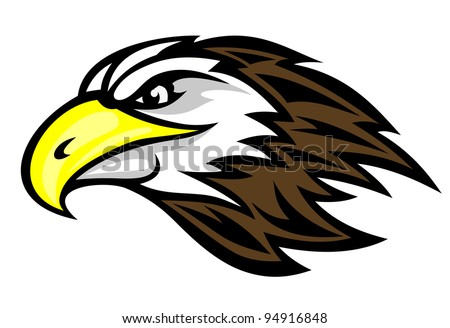 Cartoon falcon head for mascot or tattoo design. Jpeg version also available in gallery - stock vector