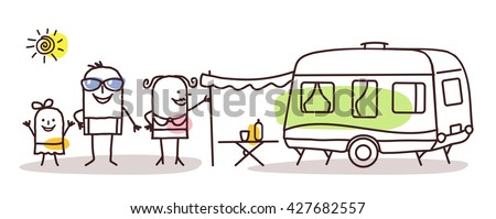 cartoon family  with a caravan - stock vector