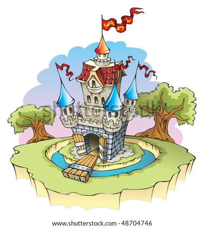 Cartoon fantasy castle, surrounded by water moat, vector illustration - stock vector