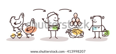 cartoon farmer production - chicken and eggs - stock vector