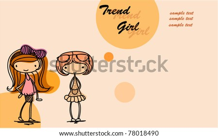 Cartoon fashionable girls - stock vector